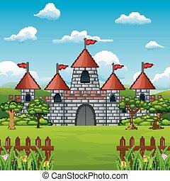 natura, rysunek, opowiadanie, zamek, wróżka, krajobraz