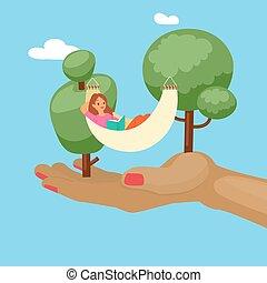 natura, rysunek, outdoors, dziewczyna, lato, rozluźnić, ...