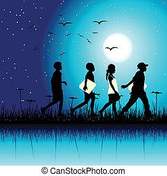 natura, sce, grupa, dzieci, noc