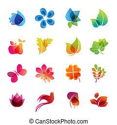 natura, set, colorito, icona