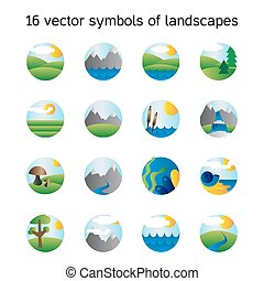 natura, symdols, krajobraz, collection., ikony