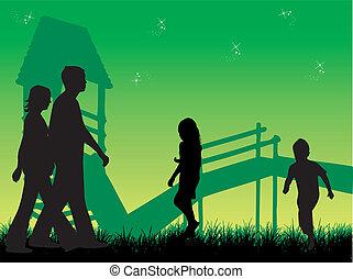 natura, szczęśliwy, zachód słońca, rodzina, przechadzki