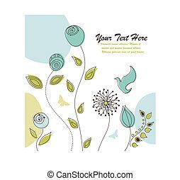 natura, testo, spazio, fondo, fiori, tuo