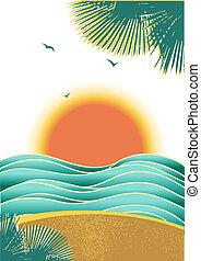 natura, tropicale, marina, fondo, con, luce sole, e, palme,...