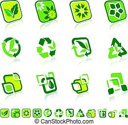 natura, verde, icone