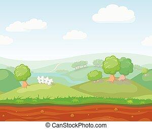 natura, vettore, cartone animato, paese, orizzontale, seamless, carino, paesaggio