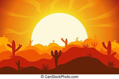 natura, vettore, fondo., cartone animato, colline, cactus, paesaggio, silhouette, variations., illustrazioni, colorare, differente, deserto, orizzontale