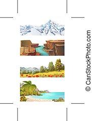 natura, vettore, paesaggio, set