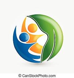 natura, vettore, persone, immagine, logotipo, salute