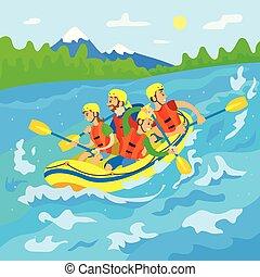 natura, viaggiatori, barca, trasportando zattera, selvatico, fiume