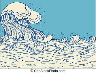 natura, wektor, waves., symbol, ilustracja, morze