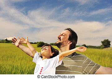 natura, wolność, przyszłość, ludzki, gotowy, szczęście