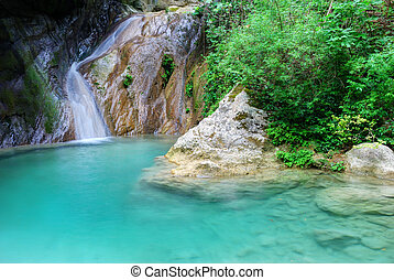 natural, água, azure, cachoeira, pequeno, piscina