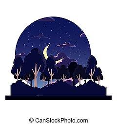 natural, árvores, lua, floresta, noturna, paisagem