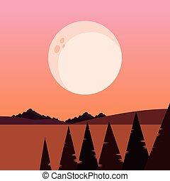 natural, árvores, lua, pinho, noturna, paisagem