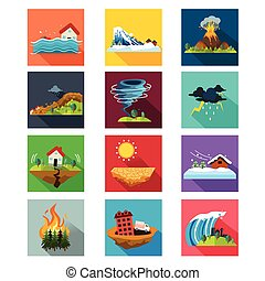 natural, ícones, desastre