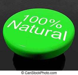 natural, 100%, ou, ambiental, orgânica, botão
