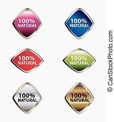 natural, 100%, pegatinas