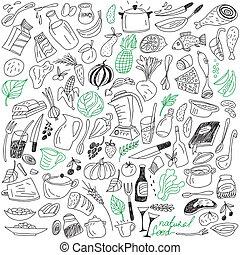 natural, alimento, doodles