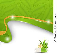 Illustration natural alternative medication, medical background - vector