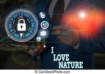 natural, amor, ecosystem., meio ambiente, escrita, nature., proteja, showcasing, mostrando, apreciar, foto, preservação, nota, negócio