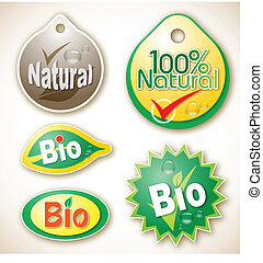 Natural and bio product labels - Illustration of various...
