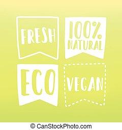 Natural and vegan flag tags. Vector hand drawn illustration