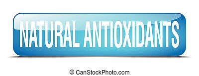 natural antioxidants blue square 3d realistic isolated web button