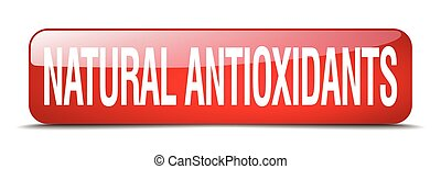 natural antioxidants red square 3d realistic isolated web button