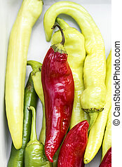 close-up of colorful bitter peppers. Pods of red and green bitter pepper. Harvest vegetables
