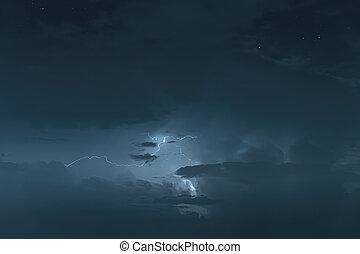 Night sky with thunderstorm
