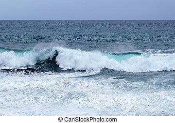 ocean waves breaking - natural background of foamy ocean...