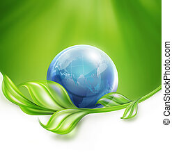 Natural background with blue world and leaves, conceptual design of environmental protection
