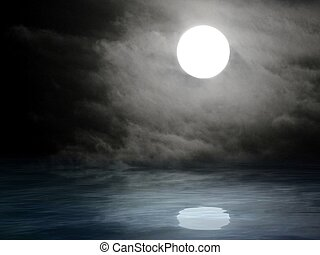 Natural background with full moon in sea reflection