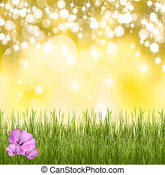 Natural background with grass and flowers