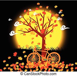 Natural background with leaves and bicycle under the moonlight