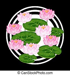 Natural background with lotus flowers and leaves