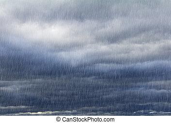 Natural background with rainy sky - Rainy sky with dark...