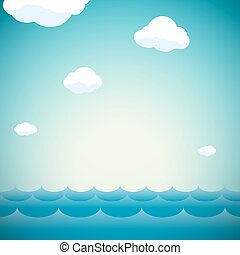 Natural background with sky, clouds and water
