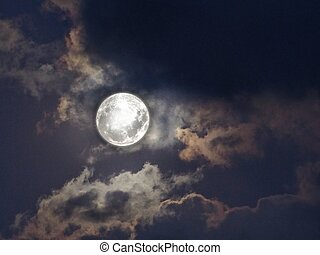 Natural background with spectacular full moon and stormy clouds in black and white