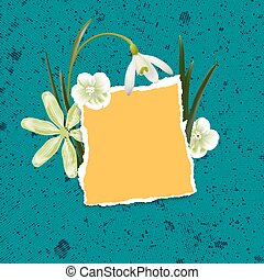 Natural background with spring flowers and torn paper.