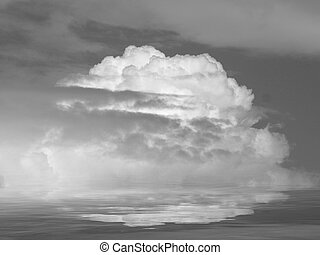 Natural background with stormy clouds and full moon in sea reflection