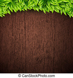 Natural background with wooden board and leaves. Vector illustra