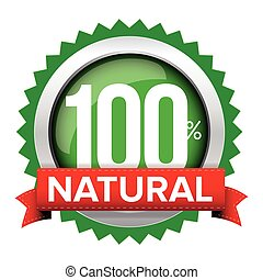 Natural badge vector with red ribbon