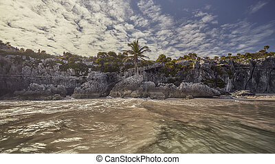 Natural beach of Tulum, Mexico