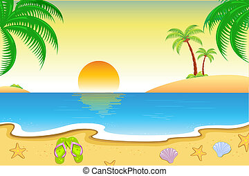 Natural Beach View - illustration of natural sea beach view...