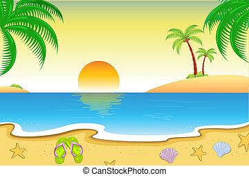 Natural Beach View - illustration of natural sea beach view...