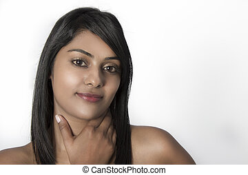 Natural Beautiful Indian Woman smiling relaxed