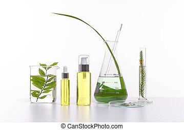 Natural beauty cosmetics product with herbal ingredients, close-up