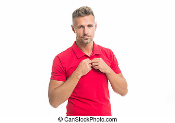 Natural beauty. Daily casual outfit. Menswear and fashionable clothing. Man calm face posing confidently white background. Man looks handsome in casual red shirt. Guy with bristle wear casual outfit